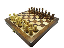 "WOODEN CHESS Magnetic Set 7"" Inch Folding Wood Handmade Antique Style Hardwood"