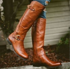 Womens Knee High Boots Round Toe Buckel Chunky Heels Riding Casual Retro Shoe Sz