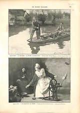 Filet de pêche Fishing net / Fileuse au Rouet Spinner Spinning wheel 1896