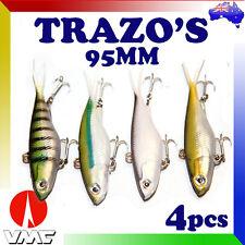 4x Trazo 95mm Transam Soft Plastic Fishing Lures Vibes Jacks Bream Barra Quick