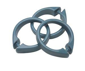 Plastic Shower Curtain Rings/Hooks: 12 Piece Set, Snap Closure, Slate