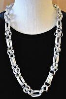 "VTG Chunky Chain Statement Necklace Silver Tone Boho Retro Costume Jewelry 30"""