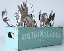 Original Cola Coke Wooden Storage Box Cutlery Utensil Holder Vintage Chic Shabby