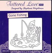 TATTERED LACE Cutting Die - GONE FISHING - Gnome, Frog