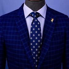 Navy Blue Italian With White Fleur-De-Lis Embroidery Designer Tie 8cm Necktie