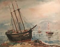 Beautiful Seascape & Boats - Huge Original Nautical Watercolor Painting - Signed