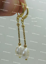 Stunning AAA 10-11mm real natural south sea white coin pearl earrings 14k gold