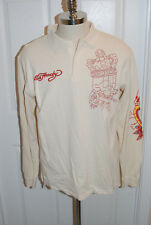 Ed Hardy Cream Long Sleeve Thermal Red Stitching 2XL Fit like a XL