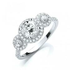 Zirconia Solitaire Isabella Trilogy Ring Jjaz 925 Sterling Silver Clear Cubic