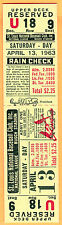 MEGA RARE FULL/MINT TICKET-1963 STL CARDINALS OPENING DAY VS. PHILLIES-4/13/63