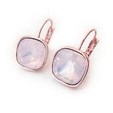 Rose Water Pink Rosegold Crystal Earrings w/ Cushion Cut Swarovski Prom Gift