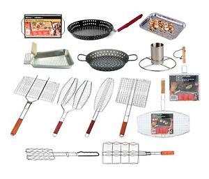 BBQ Grill Meat Burger Fish Basket Rack Barbecue Woks Pan Trays Mesh Food Outdoor