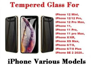 Privacy Tempered Glass Screen Protector For iPhone 11 12 13 Pro Max XR X SE 7 8+
