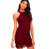 Chic Womens Sexy Sleeveless Embroidery Lace Bodycon Mini Beach Short Dress Party