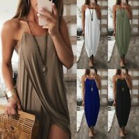 Women's Boho Sexy Sling Irregular Slit Dresses Ladies Summer Holiday Beach Dress