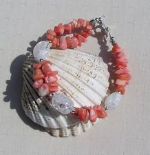 "Orange Bamboo Coral & Crackled Clear Quartz Gemstone Bracelet ""Apricot Dew"""