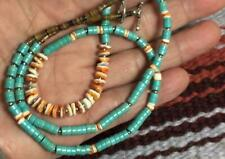 """Spiny oyster shell/stablize turquoise heishi necklace/21""""/(g255g1-w0.5)"""