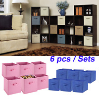 6PCS Foldable Fabric Storage Bins Set of 6 Cubby Cubes with Handles 3 Colors US