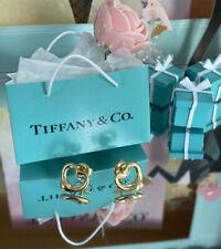 Tiffany&Co Open Heart Earrings Elsa Peretti 18k Yellow Gold Studs Black Box 11mm