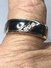 14K BLACK CORAL & DIAMOND RING  BAND         Size 10+