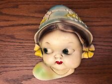Vintage Chalkware Kitchen String yarn twine Holder Dutch Girl head face kitsch