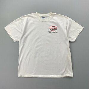 Gildan Vintage Chevrolet Racing Rock Solid White T Shirt Mens XL