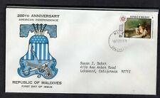 MALDIVE ISLANDS 1976 FDC US BICENTENNIAL CROSSING OF DELAWARE BY THOMAS SULLY