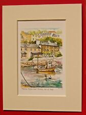 PORTREE HARBOUR ISLE OF SKYE CHARMING MOUNTED WATER COLOUR PRINT 8X6 OVERALL