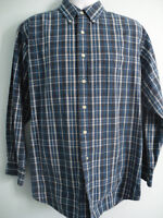 Brooks Brothers mens size L Long Sleeve Blue Plaid Button Down shirt 100% Cotton