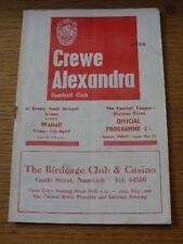 11/04/1969 Crewe Alexandra V Walsall (Risty Grapa marca). artículo en muy buenas con
