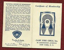 VINTAGE CAMP FIRE GIRL - 1945 MEMBERSHIP CARD - NOT SCOUT