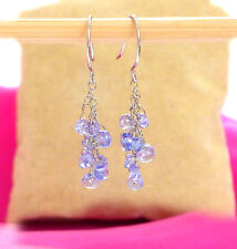 """natural tanzanite gemstone cluster earrings solid 18k white gold 1.5"""""""