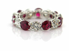 6.08 CT Natural Ruby & Diamond Eternity Band SI1/G 14K White Gold