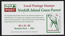 2001 NORFOLK ISLAND GREEN PARROT LOCAL STAMPS BOOKLET FINE MINT MNH/MUH