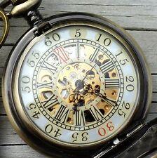 Steampunk Victorian pocket watch necklace pendant charm key Alice in Wonderland
