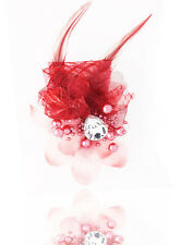 Headdress Flower Feather Rhinestone Hair Pin Brooch Clip Party Wedding Wine Red