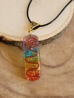 "Orgone Chakra Healing Pendant 7 Chakra Stones 20"" Cord Necklace / EMF Protection"