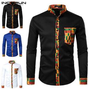 Men's African Dashiki Long Sleeve Shirt Formal Smart T Shirt Sllim Blouse Tops