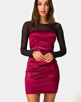 MOTEL ROCKS Cecile Slip Dress in Satin Burgundy  (MR51.1)