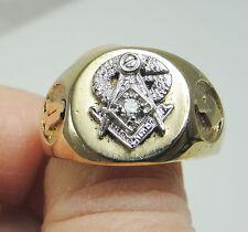 Vintage 14K Yellow 10K White Two Tone Gold Masonic Ring Diamond Accent Size 12.5