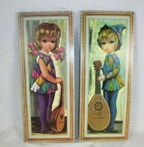 "Pr Vtg Mid Century Eden Big Eye Harlequin Girls w/ Lutes Prints on Cork 8"" x 20"""