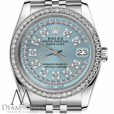 Unisex Rolex SS 36mm Datejust Ice Blue Color String Diamond Accent Dial Watch