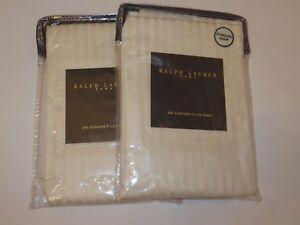2 Ralph Lauren Hallowell Stripe Jacquard standard shams Cream New Rare Italy