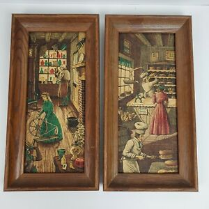 "Vintage Framed Farmhouse Kay Dee 100% Pure Linen 8.25x16.5"" SET OF 2 Signed RB"