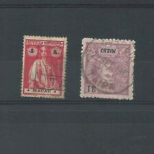 2 MACAO rare TAIPA cancellations on Ceres and D. Carlos stamps