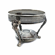 """8"""" Round Silver Chafing Dish Stand / Casserole Holder with Paw Foot Base"""