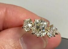 2.50TCW Old Mine Cushion Cut Moissanite Three Stone Ring 14K Yellow Gold Plated