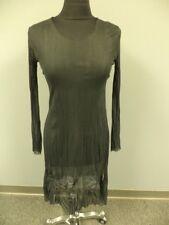 SUNLIGHT PARIS Black Sheer Polyester Sheer Long Sleeve Pleated Dress Sz S EE2528