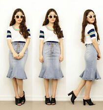 Unbranded Denim Solid Skirts for Women