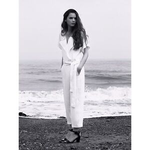NEW ZARA STUDI LUXE WHITE FLOWY OVERSIZED JUMPSUIT SIZE MEDIUM SOLD OUT $129.99